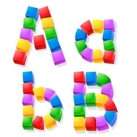 Alphabet of children s blocks  Vector illustration of funny cube font   Letters a b  Ilustrace