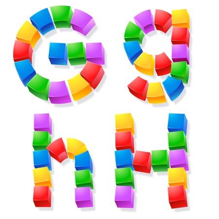 game block: Alphabet of children s blocks  Vector illustration of funny cube font  Letters g h Illustration