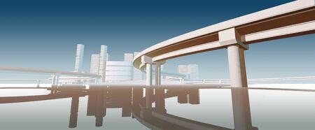 water scape: Modern futuristic styled bridge