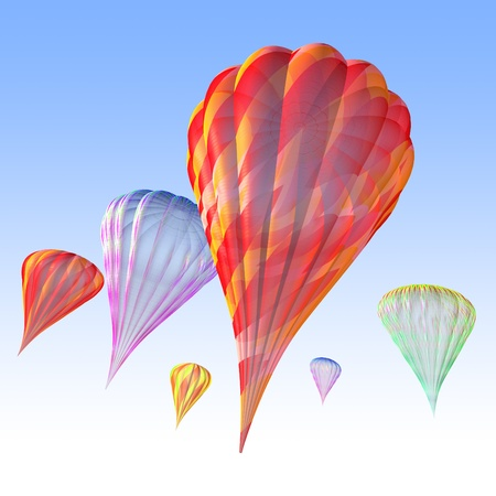 gaiety: 3d illustration of  aside look hot air balloons Stock Photo