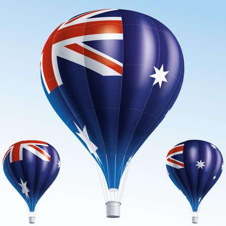 air show:  Vector illustration of air balloons painted as Australia flag