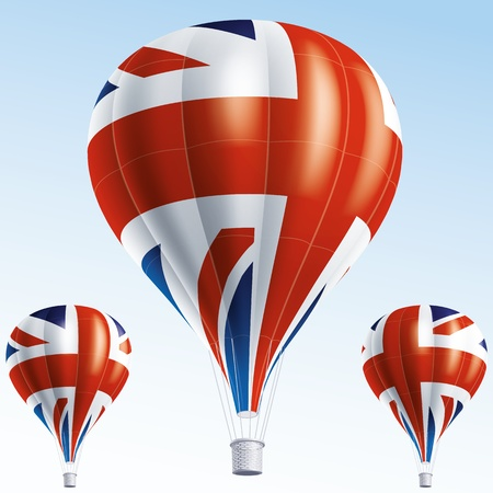 Vector illustration of air balloons painted as Great Britain flag