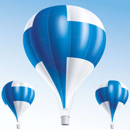 finland: Vector illustration of air balloons painted as Finland flag