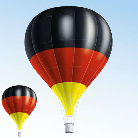 germany flag: illustration of air balloons painted as Germany flag Illustration