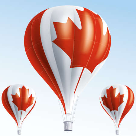 air show: Vector illustration of air balloons painted as Canada flag