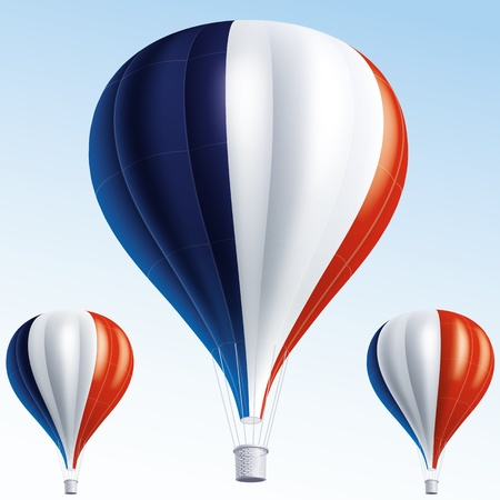 france painted: Vector illustration of air balloons painted as France flag