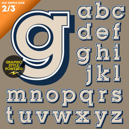 old fashioned: Old fashioned alphabet  Vintage style  Simple outlined