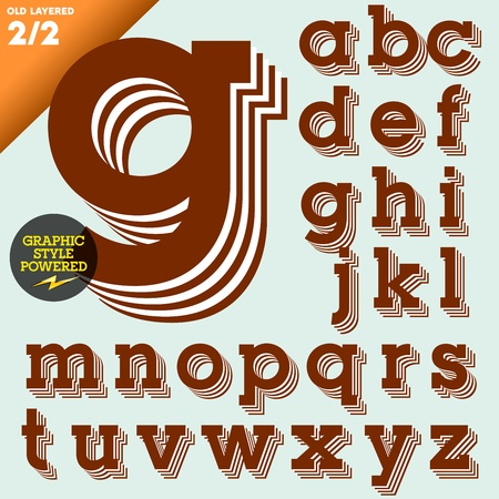 old fashioned: Old fashioned alphabet  Vintage style  Brown layered