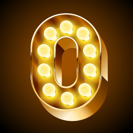Old lamp alphabet for light board  Number 0 Vector