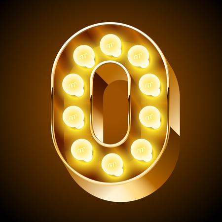 Old lamp alphabet for light board  Number 0 Stok Fotoğraf - 22065727