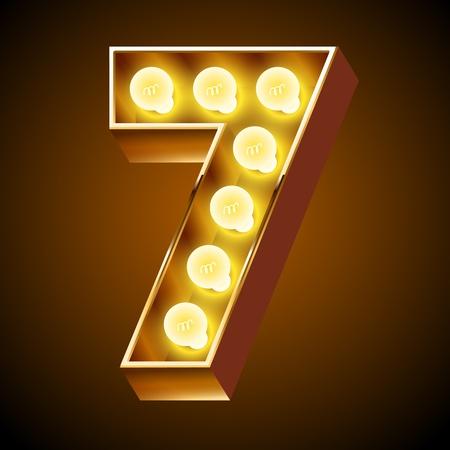 Old lamp alphabet for light board  Number 7 Illustration