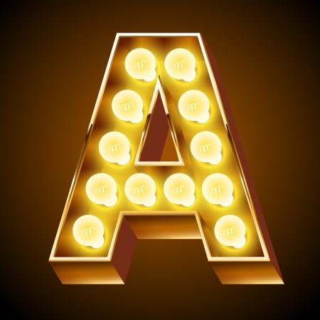 neon party: Antico alfabeto lampada per lavagna luminosa Lettera A Vettoriali