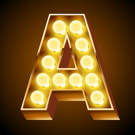 gold alphabet: Old lamp alphabet for light board  Letter A