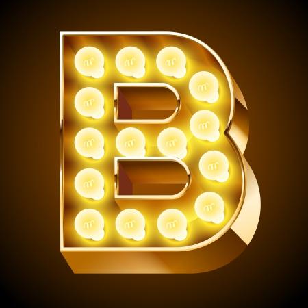 Oude lamp alfabet voor licht boord Letter B Stock Illustratie