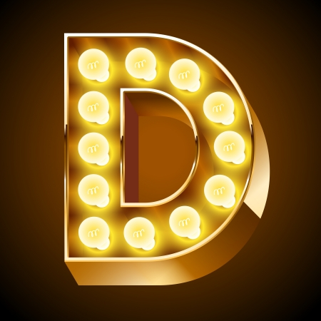 Old lamp alphabet for light board  Letter D Stock Vector - 22065737