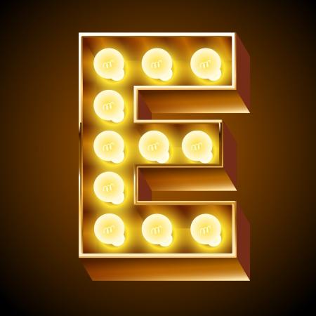 neon party: Antico alfabeto lampada per lavagna luminosa Lettera E Vettoriali