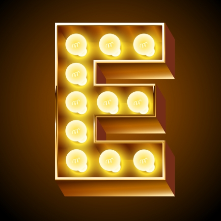 gold alphabet: Old lamp alphabet for light board  Letter E