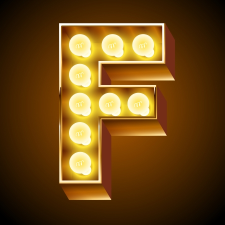 Old lamp alphabet for light board  Letter F 向量圖像