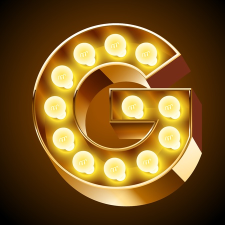 bright alphabet: Old lamp alphabet for light board  Letter G