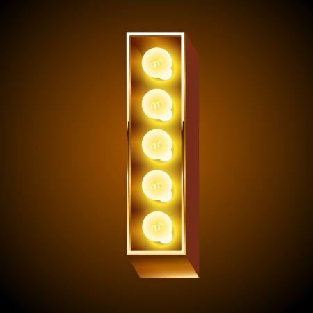 neon party: Antico alfabeto lampada per lavagna luminosa Lettera I