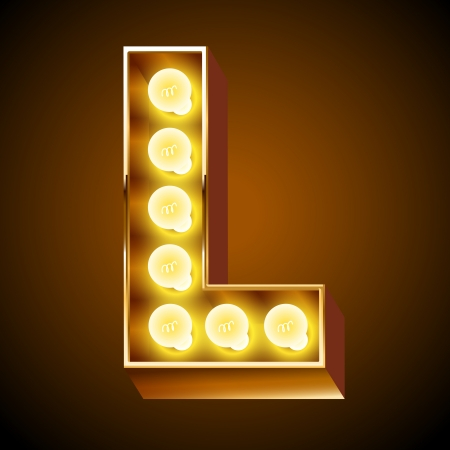 carta: Antigua lámpara de mesa de luces alfabeto letra L
