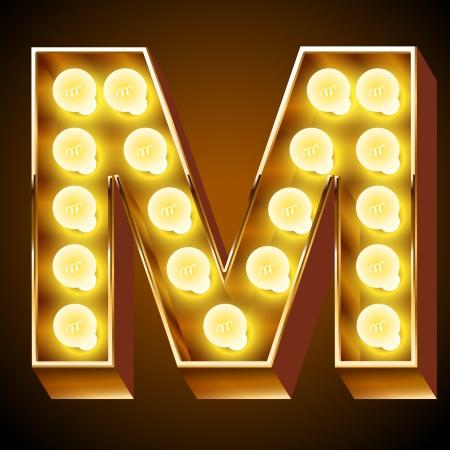 Oude lamp alfabet voor licht boord Letter M Stock Illustratie