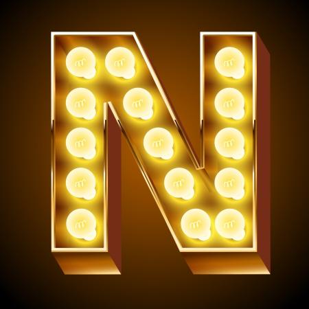 光ボードの文字 N の古いランプのアルファベット