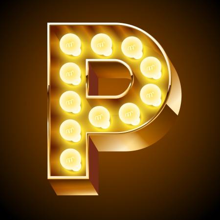letras cromadas: Antigua lámpara de mesa de luz alfabeto de la letra P Vectores