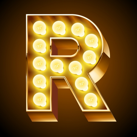 Old lamp alphabet for light board  Letter R Ilustrace
