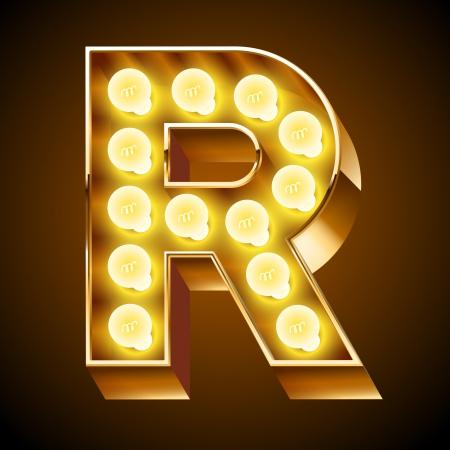 Oude lamp alfabet voor licht boord Letter R