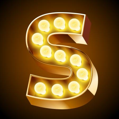 yellow bulb: Old lamp alphabet for light board  Letter S Illustration