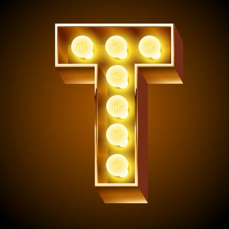 光ボード手紙 T の古いランプのアルファベット  イラスト・ベクター素材