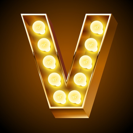 Old lamp alphabet for light board  Letter V Vector