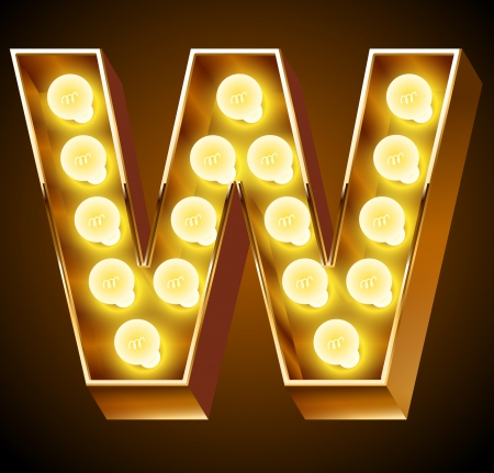 Old lamp alphabet for light board  Letter W Vector