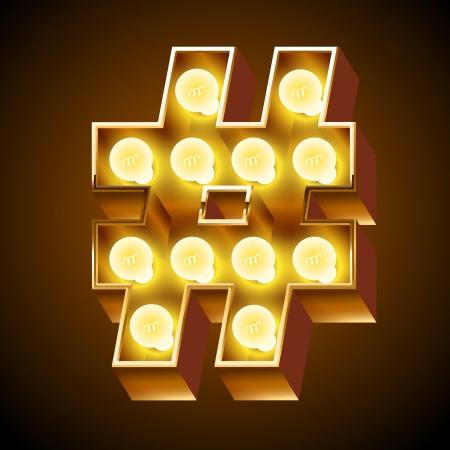 Old lamp alphabet for light board  Symbols  Illustration