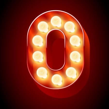 Old lamp alphabet for light board  Number 0