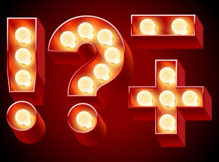 neon party: Vecchia lampada a alfabeto per lavagna luminosa simboli