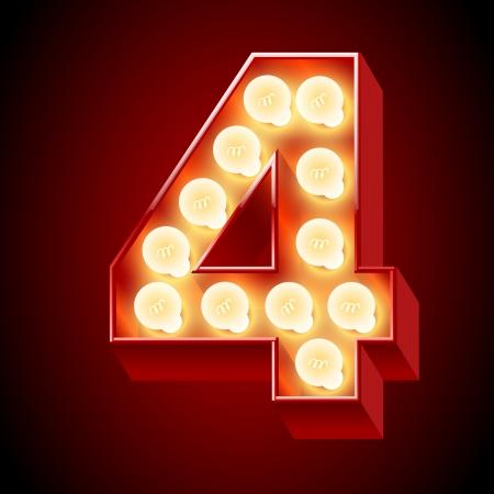 chrome letters: Antigua l�mpara de alfabeto para mesa de luces N�mero 4 Vectores