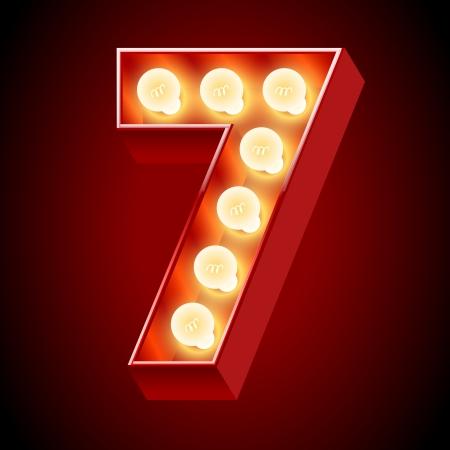 number 7: Old lamp alphabet for light board  Number 7 Illustration