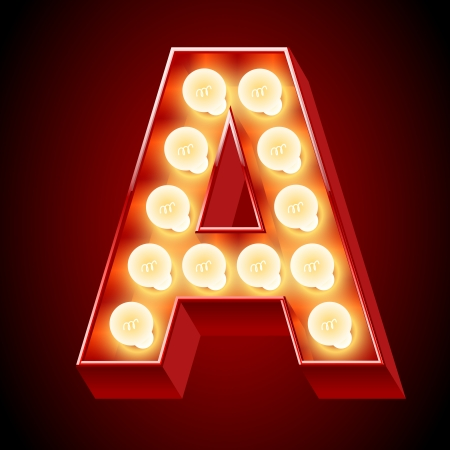 Old lamp alphabet for light board  Letter A Vector
