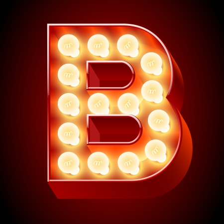 Old lamp alphabet for light board  Letter B Vector