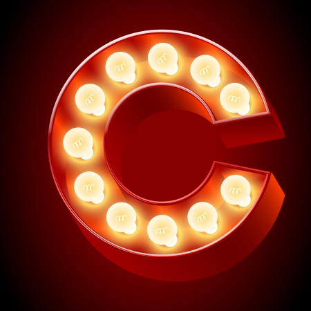 Old lamp alphabet for light board  Letter C Vector