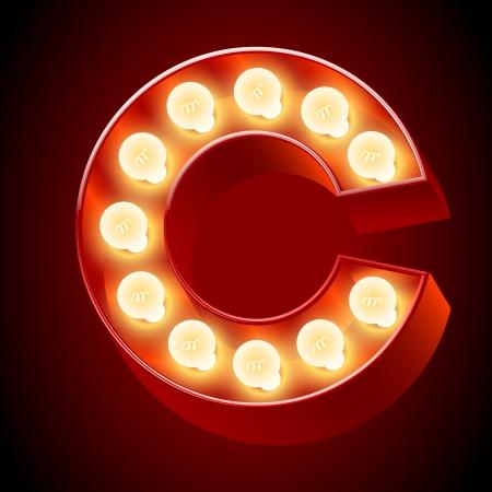 neon party: Vecchia lampada a alfabeto per lavagna luminosa Lettera C