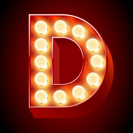 neon party: Vecchia lampada a alfabeto per lavagna luminosa Lettera D