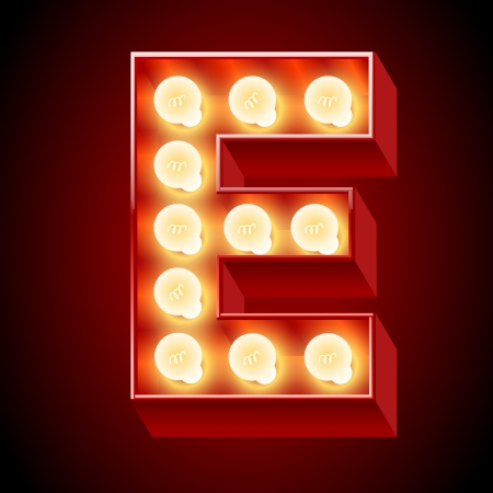 Old lamp alphabet for light board  Letter E Vector