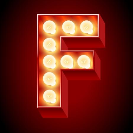 chrome letters: Alfabeto L�mpara vieja para el tablero de la luz de la letra F Vectores