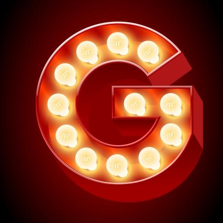 neon sign: Old lamp alphabet for light board  Letter G