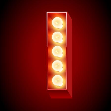 letras cromadas: Antigua l�mpara de mesa de luces alfabeto letra I