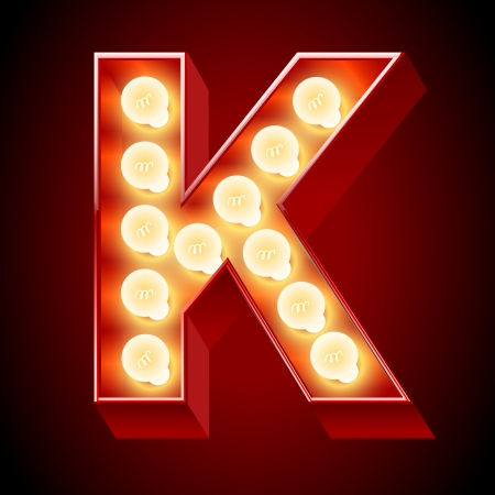 Old lamp alphabet for light board  Letter K Vector