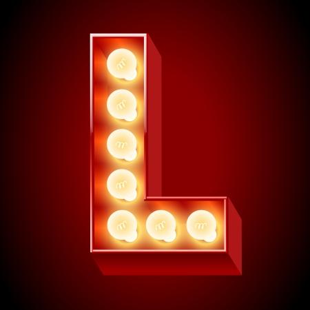 letras cromadas: Antigua lámpara de mesa de luces alfabeto letra L